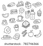 breakfast food doodle set | Shutterstock .eps vector #782746366