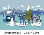 christmas card illustration. a... | Shutterstock .eps vector #782748196