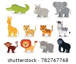 Wild Animals Set In Flat Style...
