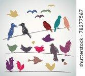 Vector Set Of Sketched Birds O...