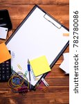 stationery and calculator on... | Shutterstock . vector #782780086