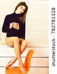 pretty cute sexy brunette girl... | Shutterstock . vector #782781328