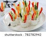 individual vegetarian cocktail... | Shutterstock . vector #782782942
