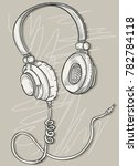 hand drawn musical headphones | Shutterstock .eps vector #782784118