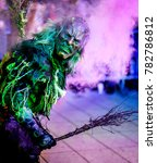 HEIMSTETTEN, GERMANY - DECEMBER 3: traditional krampuslauf with costumes and wooden masks on December 27, 2017 in Heimstetten, Germany. The Krampus is traditional in the company of St. Nicholas. - stock photo