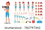 fitness girl vector. animated... | Shutterstock .eps vector #782797342