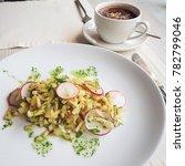 delicious morning breakfast at... | Shutterstock . vector #782799046