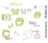 baby arrival card   baby shower ... | Shutterstock .eps vector #78280126