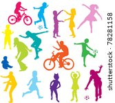 colored children silhouettes... | Shutterstock .eps vector #78281158