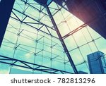 steel blue glass high rise... | Shutterstock . vector #782813296