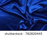 Blue Satin  Silky Fabric  Wave...
