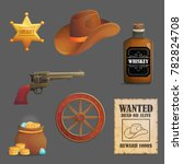 collection of wild west sheriff ... | Shutterstock .eps vector #782824708