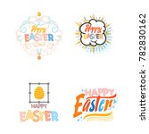 happy easter set banners. hand... | Shutterstock .eps vector #782830162
