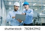 head of the project holds... | Shutterstock . vector #782842942