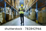 auditor wearing hard hat with... | Shutterstock . vector #782842966