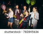 group of happy friends going on ... | Shutterstock . vector #782845636