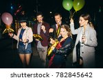 group of happy friends going on ... | Shutterstock . vector #782845642