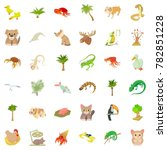 animal icons set. cartoon style ... | Shutterstock . vector #782851228