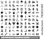 100 physical training icons set ... | Shutterstock . vector #782852485