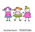 friends. 3 girls. little people ... | Shutterstock .eps vector #782855386