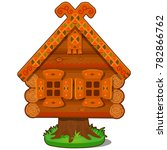 wooden house of baba yaga... | Shutterstock .eps vector #782866762