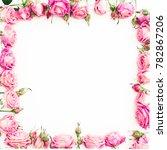 flower border frame of pink... | Shutterstock . vector #782867206