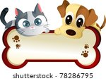 Stock vector a vector illustration of a dog and a cat banner 78286795