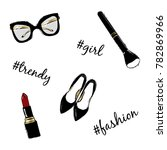vector fashion sketch set. hand ... | Shutterstock .eps vector #782869966