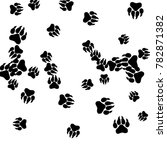 monochrome bear footprints in... | Shutterstock .eps vector #782871382