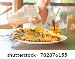 lady on tropical vacations...   Shutterstock . vector #782876155