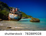 shipwrecks lay in ruins on the... | Shutterstock . vector #782889028