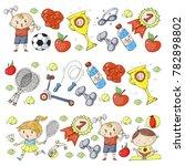 children sport. kids drawing.... | Shutterstock .eps vector #782898802