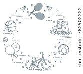 badminton rackets and... | Shutterstock .eps vector #782902222