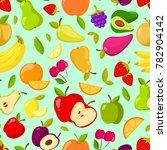seamless summer fruits pattern.... | Shutterstock . vector #782904142