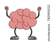 brain with dumbbells cartoon | Shutterstock .eps vector #782905522