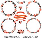 black and red floral vector... | Shutterstock .eps vector #782907352