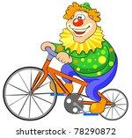 happy clown riding on a bike.... | Shutterstock .eps vector #78290872
