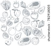 vegetables and fruits hand draw