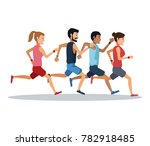 people running over white... | Shutterstock .eps vector #782918485