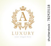 luxury a letter and crown... | Shutterstock .eps vector #782925118