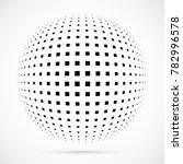 white 3d vector halftone sphere.... | Shutterstock .eps vector #782996578