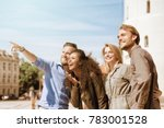young buddy pointing the... | Shutterstock . vector #783001528