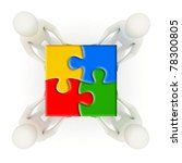 Four 3d men holding colorful, assembled jigsaw puzzle pieces - stock photo