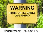 Small photo of A warning fibre optic cable overhead sign.