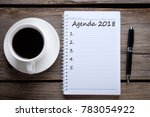Small photo of Agenda 2018. Business concept.