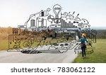 back view of engineer woman in... | Shutterstock . vector #783062122