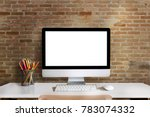 mock up   workspace with blank... | Shutterstock . vector #783074332