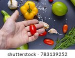 cook is holding red fresh... | Shutterstock . vector #783139252