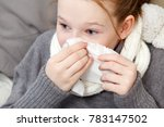 portrait of child blowing nose... | Shutterstock . vector #783147502