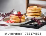fluffy pancakes with butter  ... | Shutterstock . vector #783174835